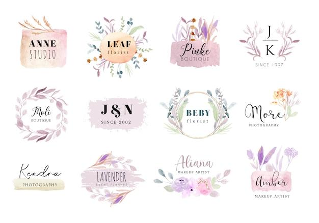 Premade logo zachte pastel bloemen en penseelstreek aquarel collectie