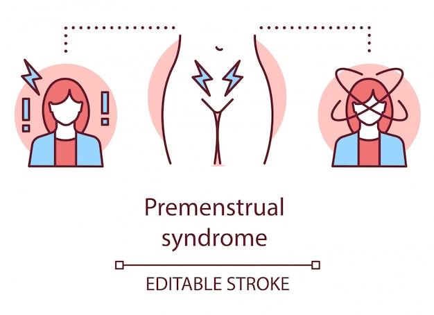 Premenstrueel syndroom concept pictogram. menstruatiecyclus idee dunne lijn illustratie.