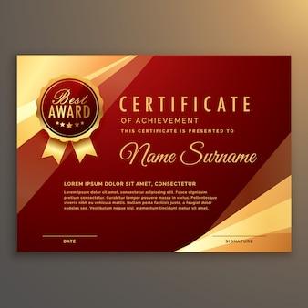 Premie rode certificaat en diploma sjabloon ontwerp vector