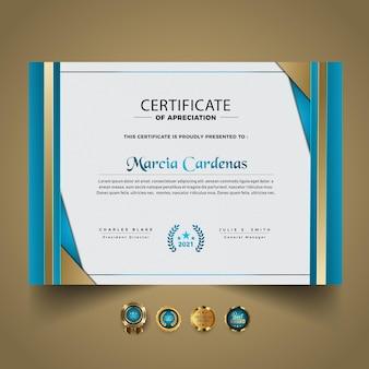 Premium abstract certificaatontwerp