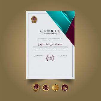 Premium abstract certificaatontwerpsjabloon
