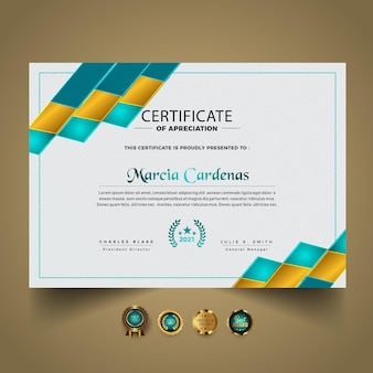 Premium abstract certificaatsjabloonontwerp