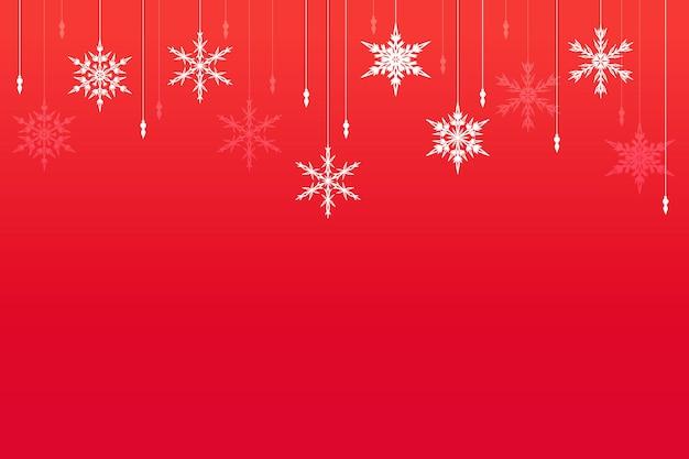 Premium abstracte rode kerstachtergrond met geometrische sneeuwvlokken