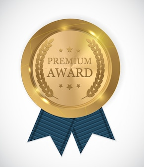 Premium award gouden medaille. vector illustratie