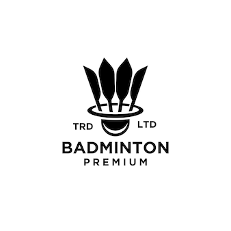 Premium badminton shuttle logo ontwerp illustratie