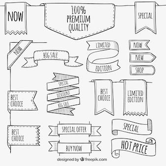 Premium banners in schetsmatige stijl