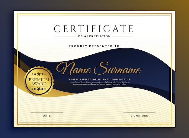 Premium bedrijfscertificaat van sjabloon voor waardering