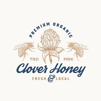 Premium biologische honing logo sjabloon.