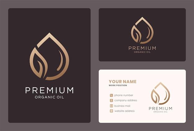 Premium biologische olie voor logo-ontwerp voor schoonheidsverzorging in een gouden kleur.
