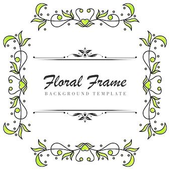 Premium bloemen frame siersjabloon