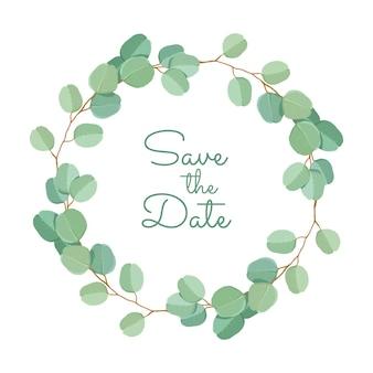 Premium bruiloft uitnodiging sjabloon van groene eucalyptus bladeren en takken