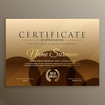 Premium bruin certificaat ontwerp sjabloon