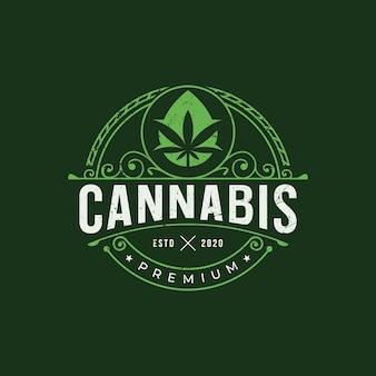 Premium cannabis drop logo ontwerp