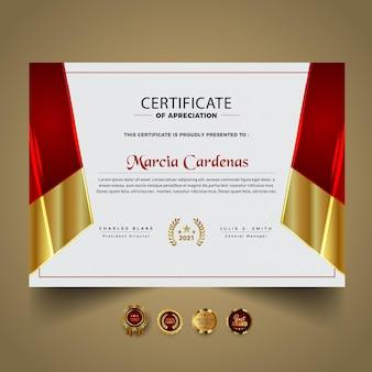 Premium certificaat rood nieuw diplomasjabloon