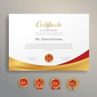 Premium certificaat van prestatie sjabloon met gouden en rode badges