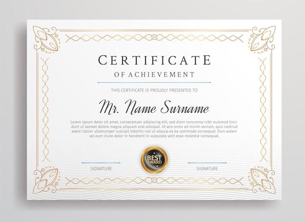 Premium certificaat van waardering grenssjabloon voor zakelijk afdrukken