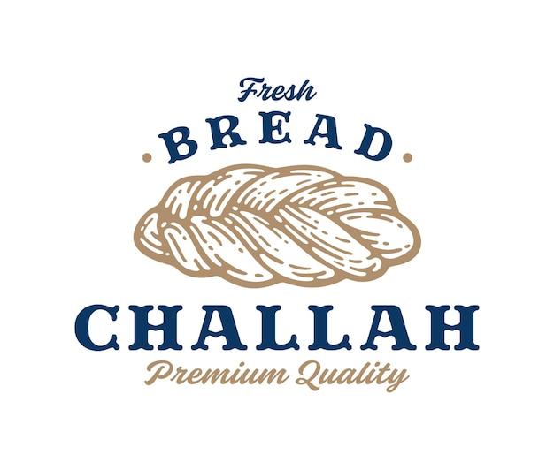 Premium challahbrood in vintage label, teken, symbool of logo sjabloon. bakkerij