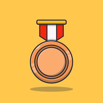Premium concept bronzen medaille prestatie vector illustratie ontwerp