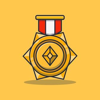 Premium concept gouden medaille prestatie vector illustratie ontwerp
