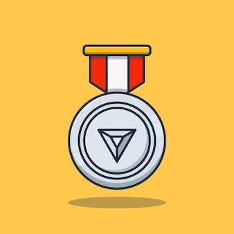 Premium concept zilveren medaille prestatie vector illustratie ontwerp