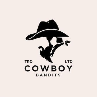 Premium cowboy bandieten vector logo ontwerp