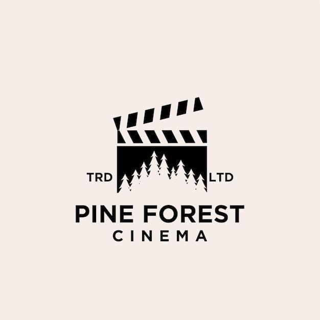 Premium dennenboom bos bioscoop vector logo pictogram ontwerp