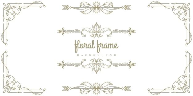 Premium floral frame achtergrond sjabloon