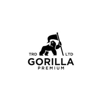 Premium gorilla vector logo-ontwerp
