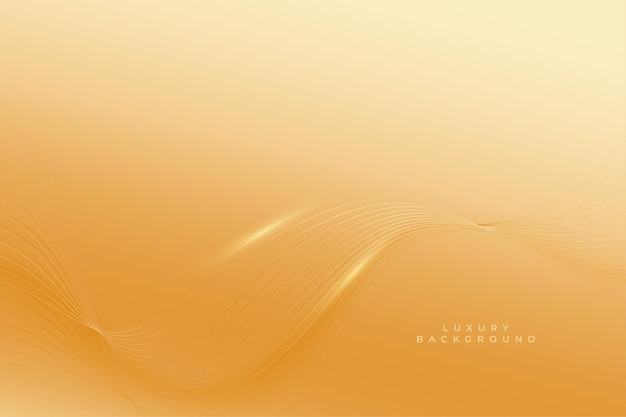 Premium gouden achtergrond met vloeiende golflijnen