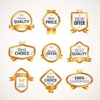 Premium gouden badge. beste prijskwaliteit. beste keuze aanbieding te koop
