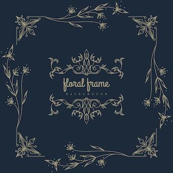 Premium gouden bloemenframe