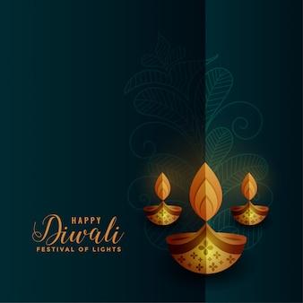 Premium gouden diya-decoratie voor diwalifestival