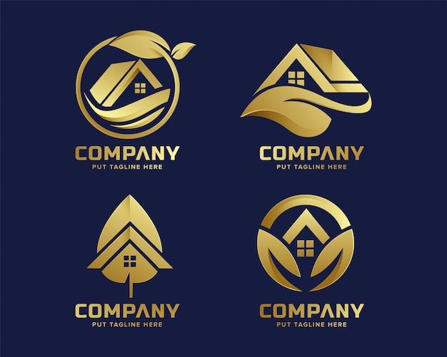 Premium gouden eco huis logo sjabloon voor bedrijf