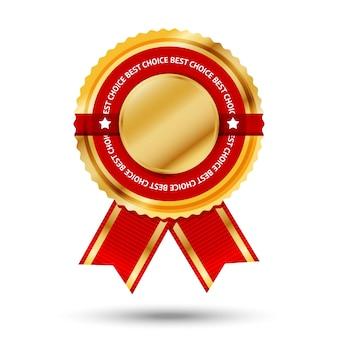 Premium gouden en rode bestseller-label met -best choice- tekst eromheen. geïsoleerd op witte achtergrond illustratie