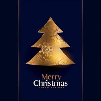 Premium gouden kerstboom creatieve achtergrond