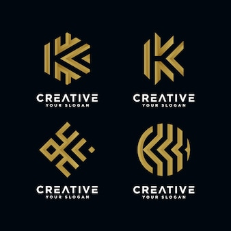 Premium gouden letter k-logo voor bedrijf.