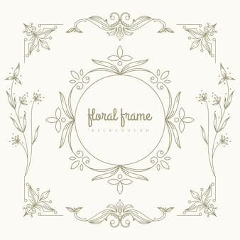 Premium gouden logo-ontwerp met bloemenframe