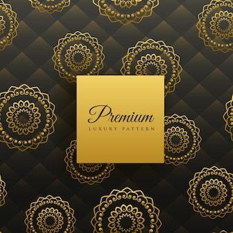 Premium gouden mandala naadloze patroon
