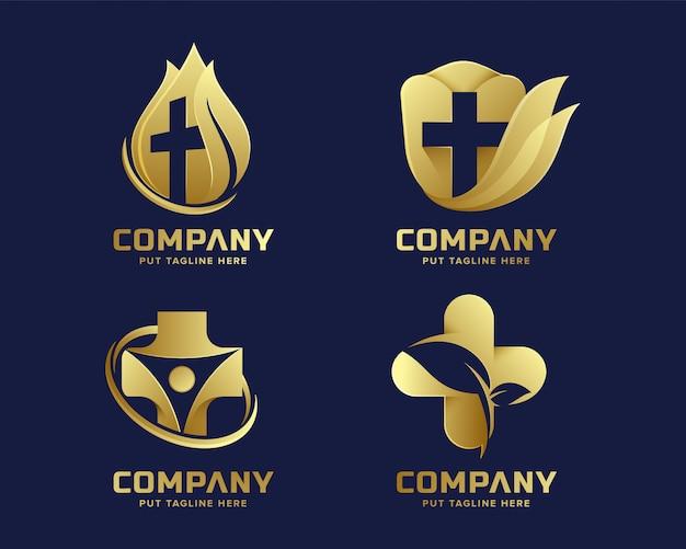 Premium gouden medisch ziekenhuis logo sjabloon