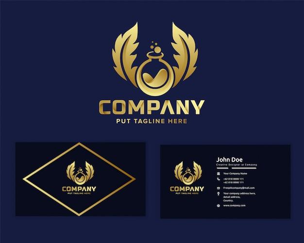 Premium gouden science lab logo sjabloon voor bedrijf