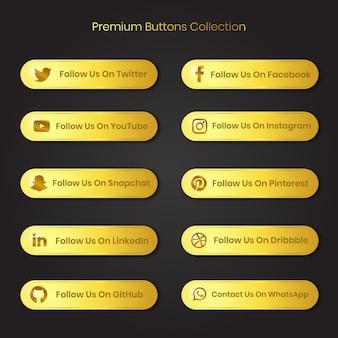 Premium gouden sociale media en ander platform volgen ons en nemen contact met ons op knoppen