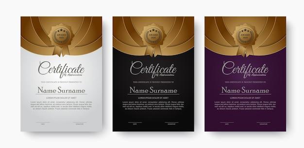 Premium gouden zwart certificaatsjabloonontwerp