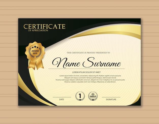 Premium gouden zwarte certificaatsjabloonontwerp.