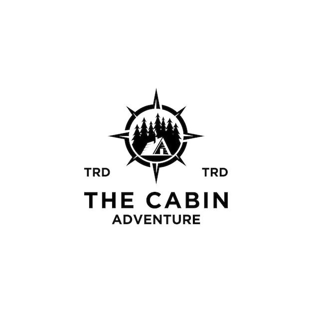 Premium houten hut, dennenbos en kompas wegwijzer retro vector zwart logo ontwerp geïsoleerd witte achtergrond