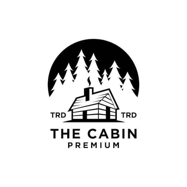 Premium houten hut en dennenbos op de cirkel retro vector zwart logo ontwerp geïsoleerd witte achtergrond