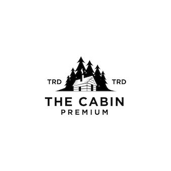 Premium houten hut en dennenbos retro vector zwart logo ontwerp geïsoleerd witte achtergrond