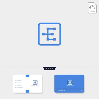 Premium initial e geometric-logosjabloon, visitekaartjessjabloon omvat.