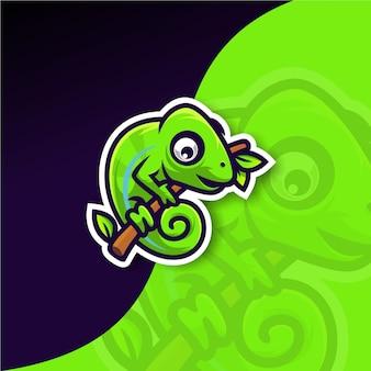 Premium kameleon-logo op een tak