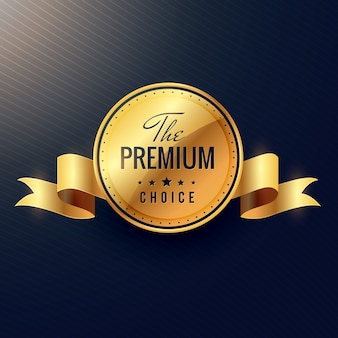 Premium keuze vector gouden label ontwerp