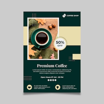 Premium koffie verticale flyer-sjabloon